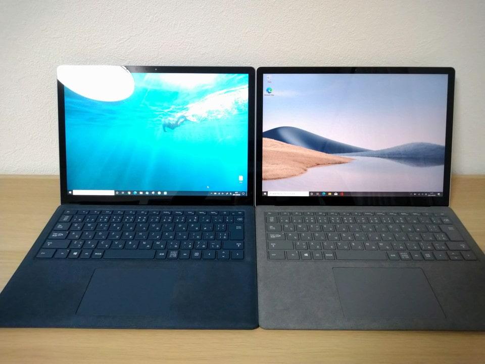 初代Surface LaptopとSurface Laptop 4を並べてみました。